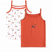 Kids Narrow shoulder straps tops picot trim at neckline and armholes with prints in the front