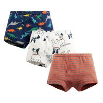 baby 4-pack boxer briefs with aminal,dinosaur , airplane, car, shark prints in different color for boys 3-7 years