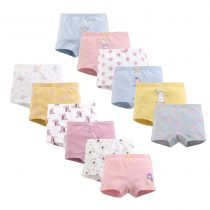 girls 4-pack boxer briefs with friuts , polka dot , pineapple, cherry prints in different color for girls 3-7 years