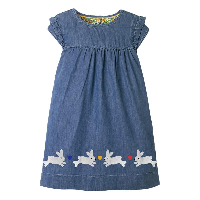 Rabbits Pattern Girl Denim Dress