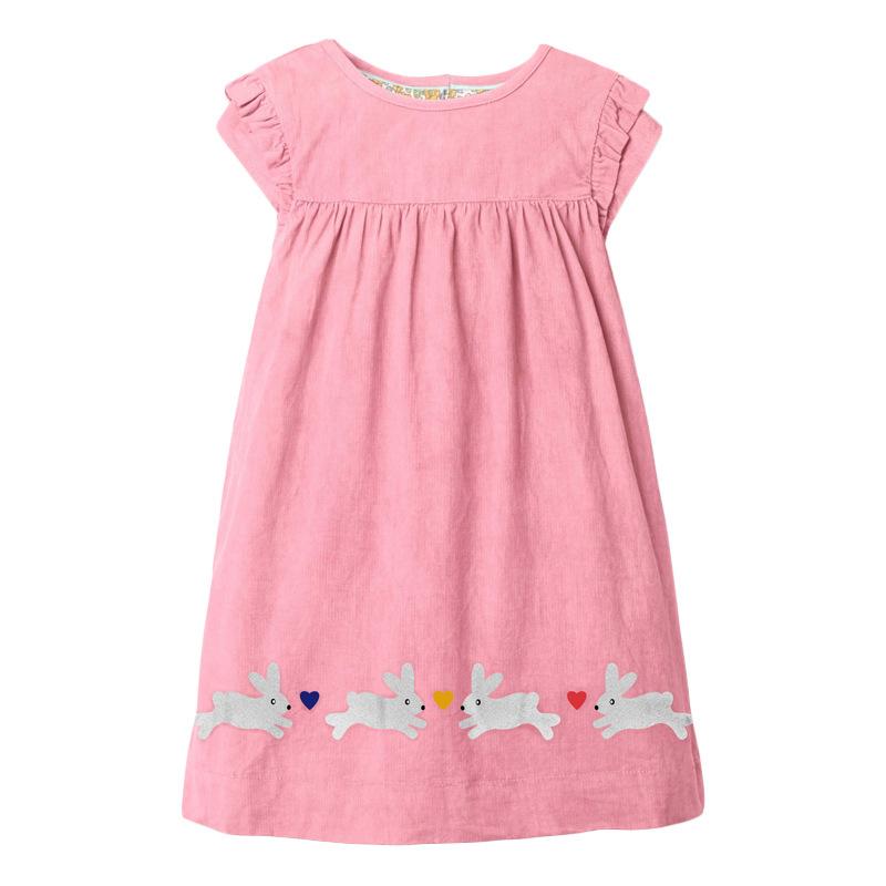 Four Rabbits Pattern Girls Pink Dress