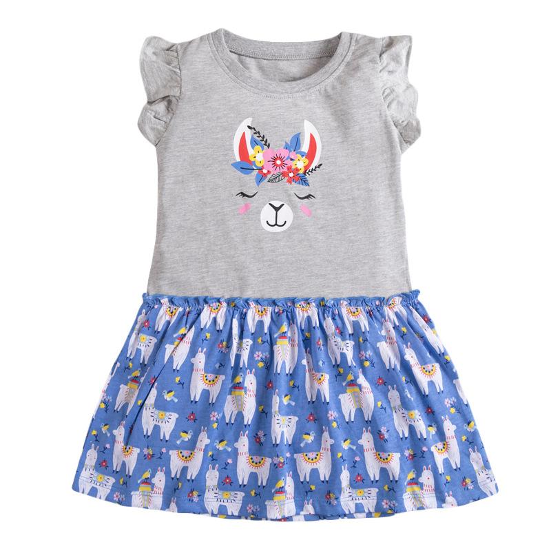 Girls Sleeveless Dress Contrast Print Alpacas Pattern