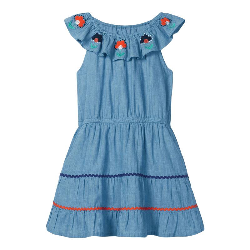 Big Collar Denim Embroidery Girl Dress