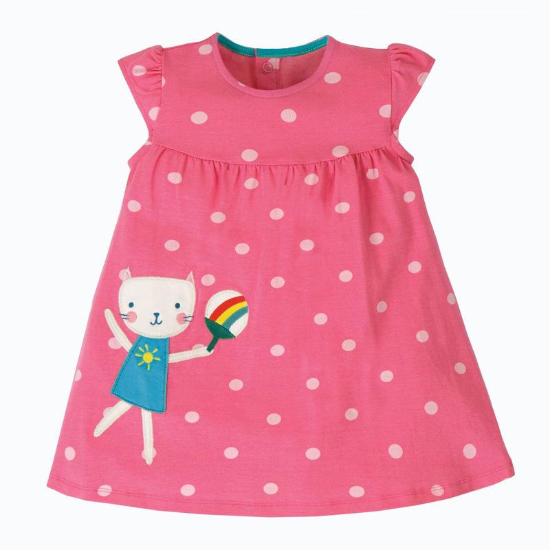 Cute Cat Holding A Fan  Pattern Girl Pink Dress