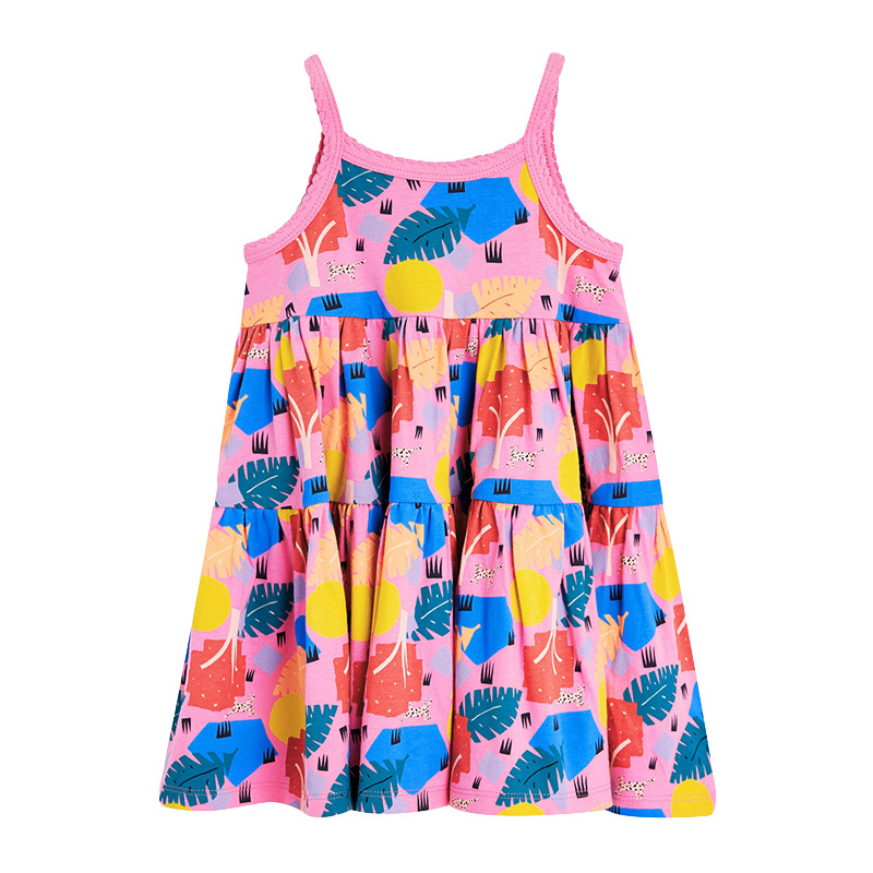 Girls cut Sleeve Cotton Dress with Leaves Pattern