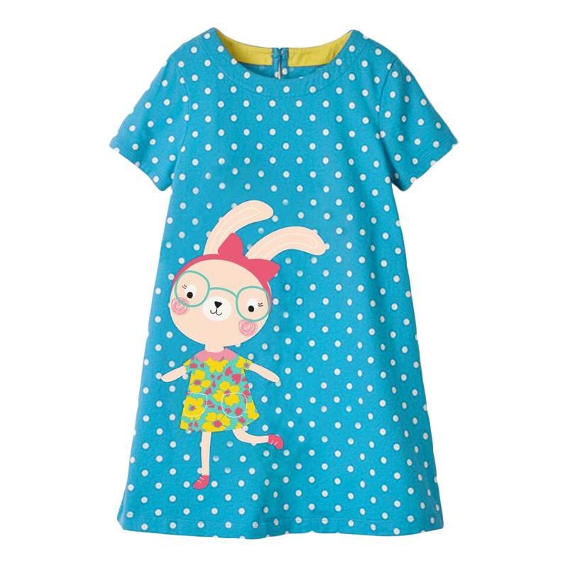 Girls Dress with Cute Rabbit Wearing Glasses Pattern