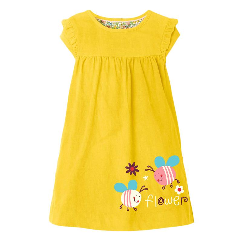 Girls Yellow Dress with Cute Bee Pattern