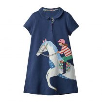 Baby girl mint dress with cartton printed which wearing in summer, fall