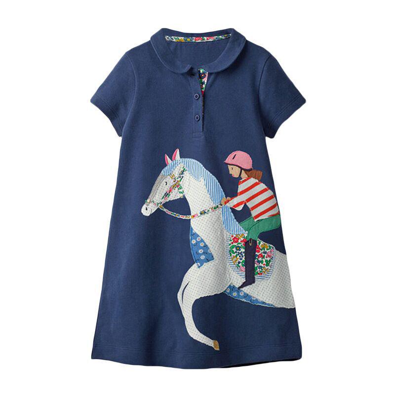 Dark Blue Polo Girls Children's Summer Short Sleeve Cartoon Dress