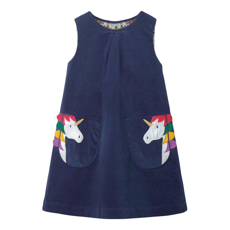 Girl Dark Blue Sleeveless Dress