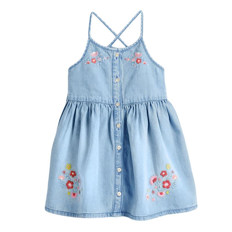 Denim Flower Embroidery Girl Sling Dress