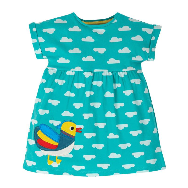 Girls Polk Dot Green Dress with Duck and Cloud Pattern