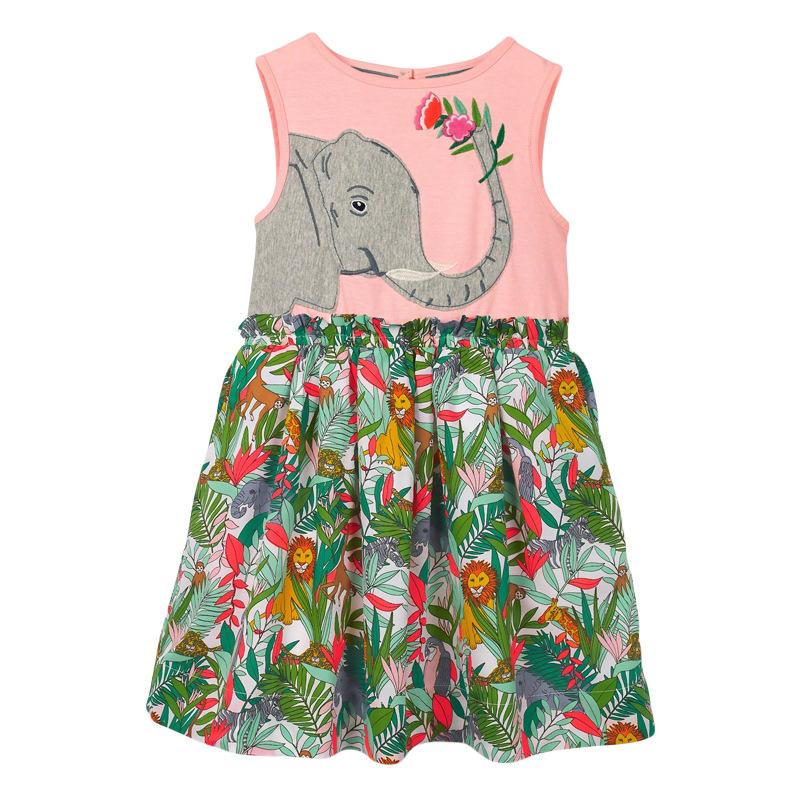 Elephant Pattern Girl Floral Dress