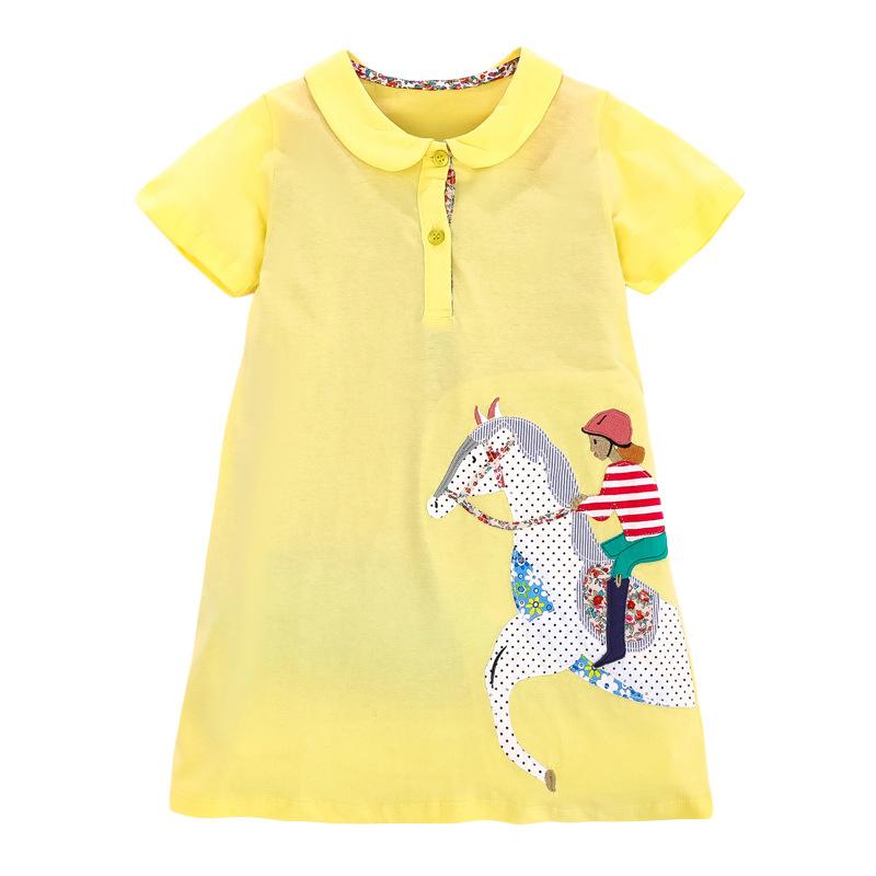 Little Girl Riding Horse Pattern Girl Yellow Dress