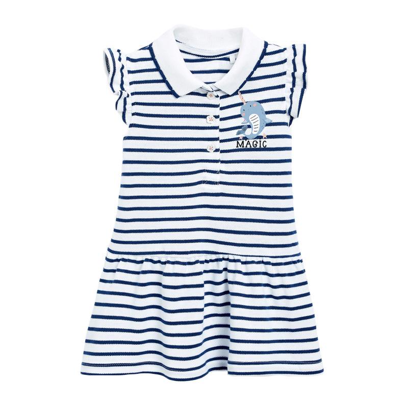 Striped Polo Girls Dress Summer New Short Sleeve Children's Skirt