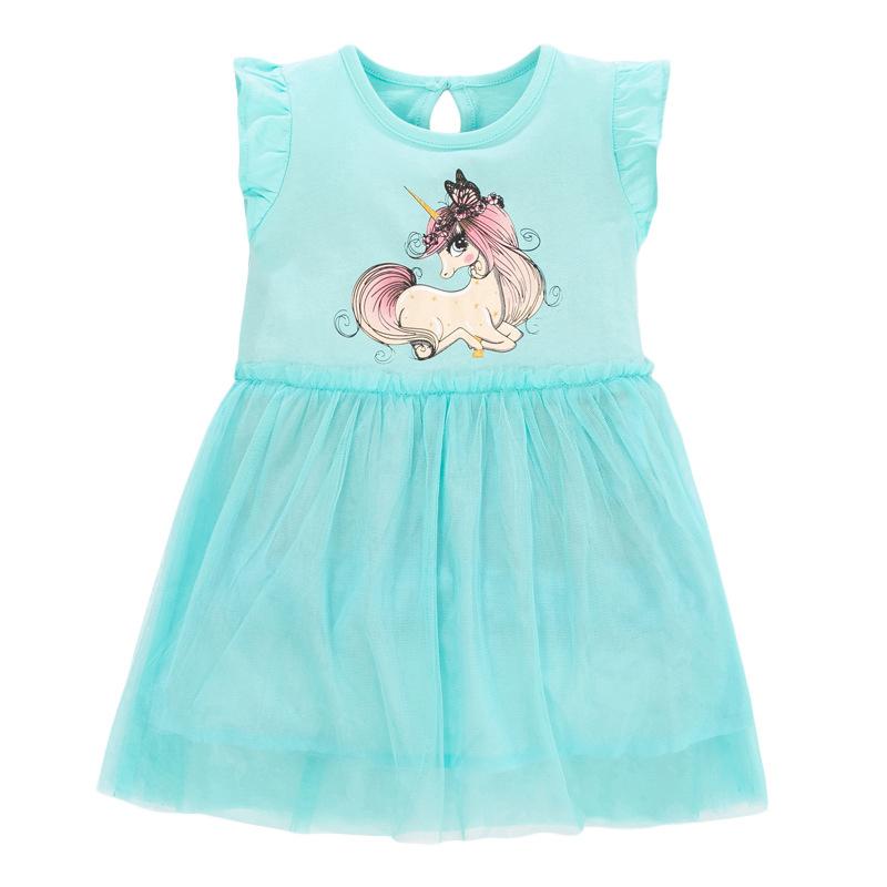 Short-sleeved Mesh Pony Pattern Children's Skirt