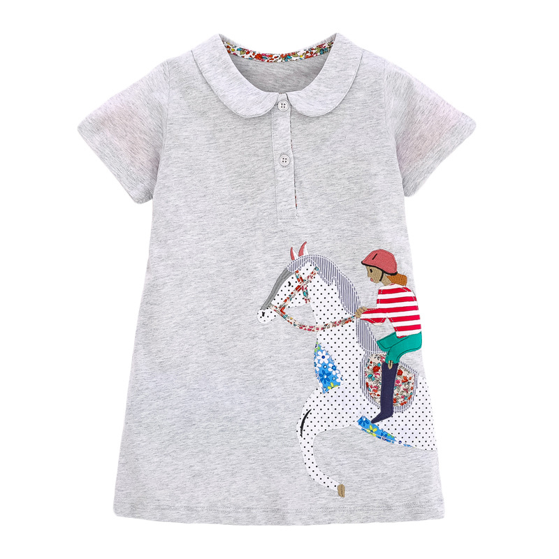 Little Girl Riding Horse Pattern Girl Grey Dress