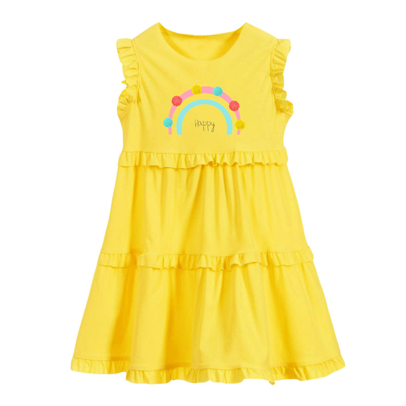 Happy Word Print Girl Yellow Dress