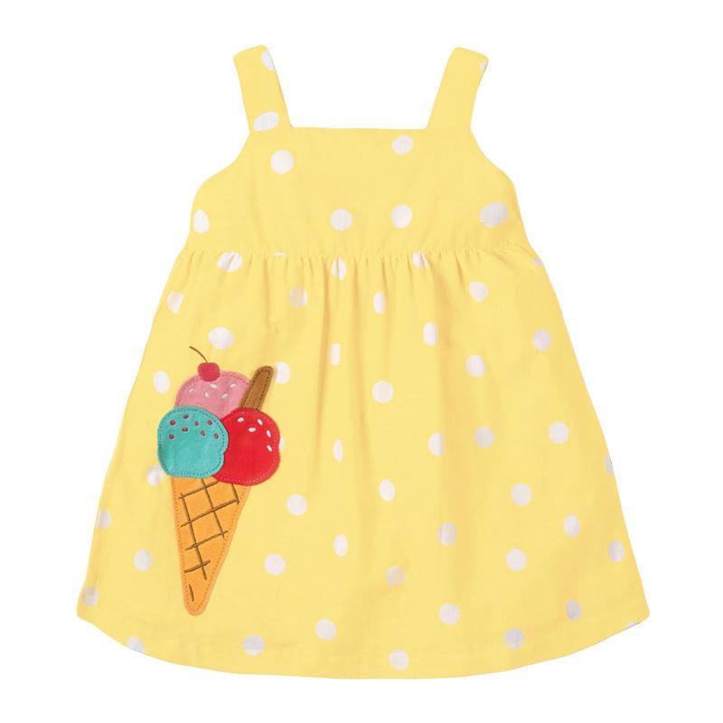 Girl Polka Dot  Yellow Dress with Ice Cream Pattern