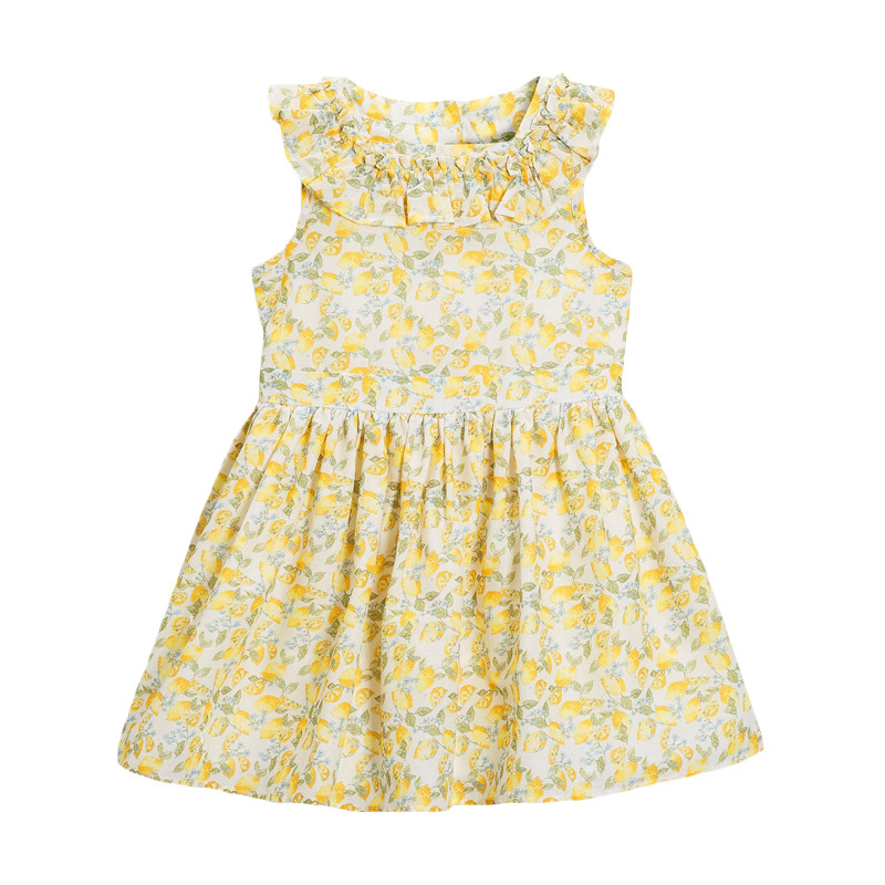 Girl Dress with Lemon Pattern