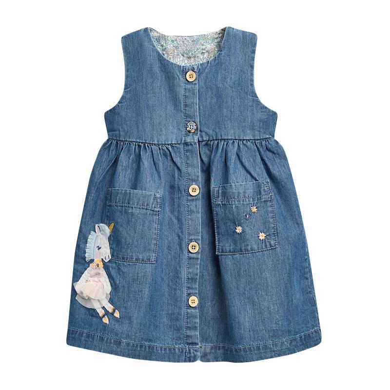 Patterned Denim Girl Dress
