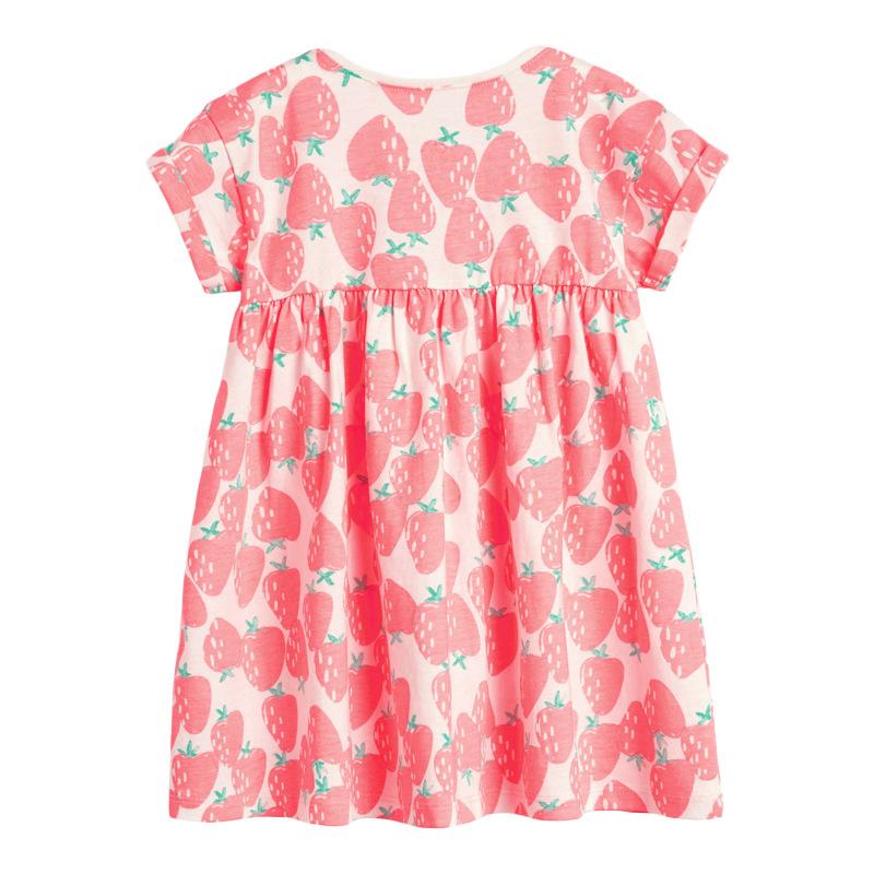 Girls Strawberry Pattern Printed Cotton  Dress