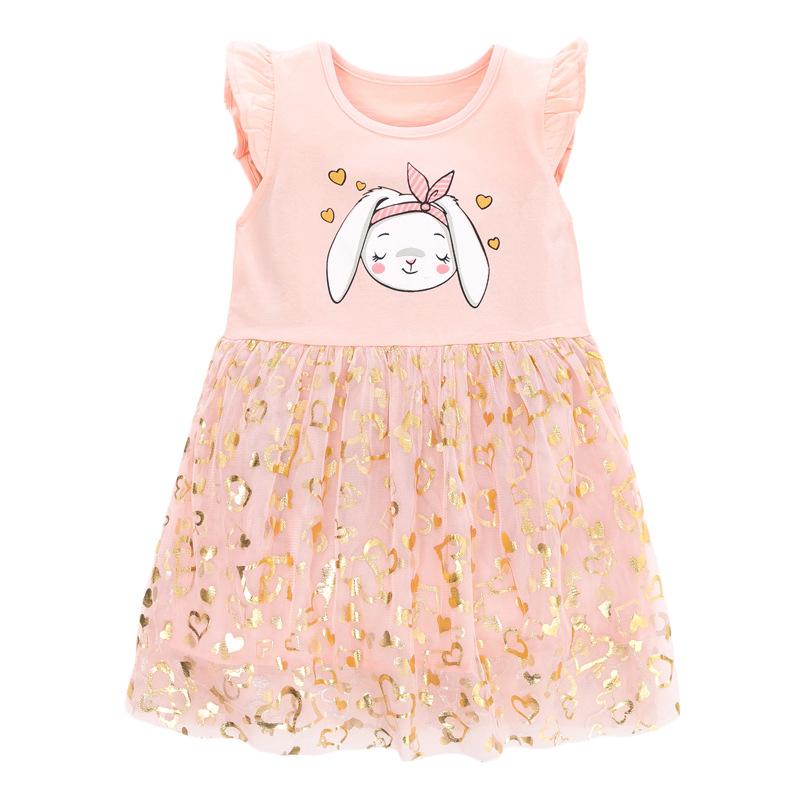 Sequins Mesh Children Skirt Printed Long Ear Rabbit Pattern