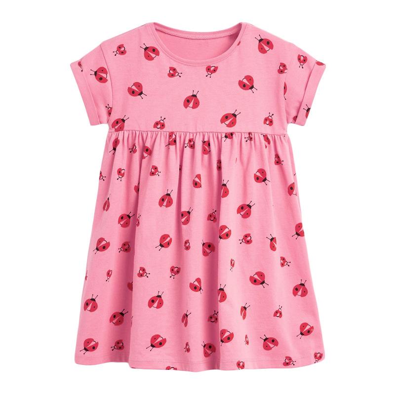 Girls Dress with Ladybug Pattern