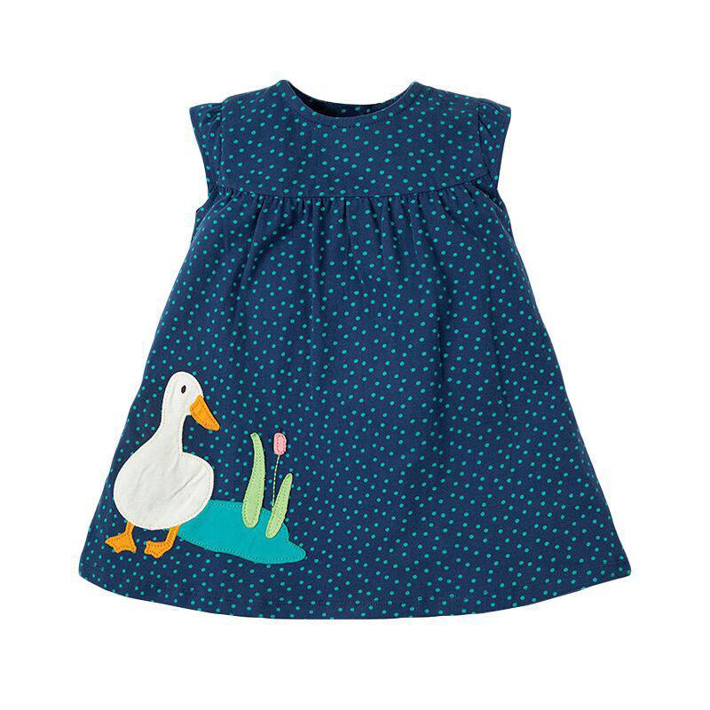 Girls Dark Blue Polka Dot Dress Summer Children's Clothing Dress