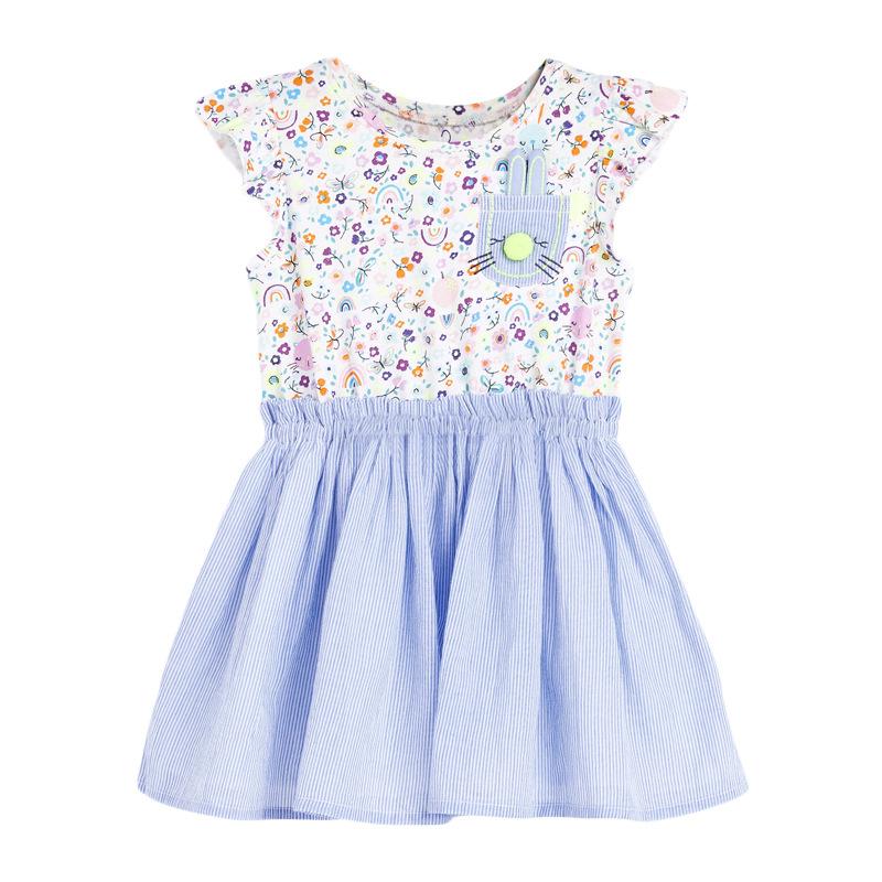 Girl Short-sleeved Print Dress  Rabbit Pattern Children's Dress