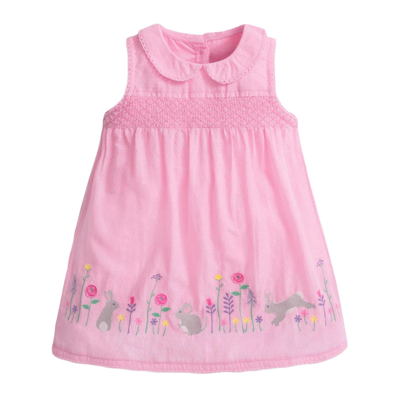 Girls Pink Sleeveless Dress with Cute Rabbit and Flowers Pattern