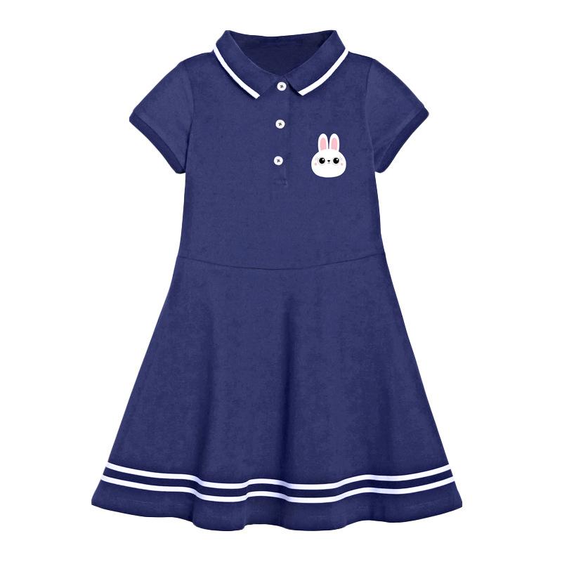 Rabbit Print Dark Blue Girl Polo Dress