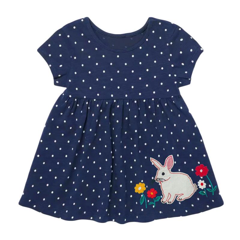 Rabbit Polka Dot Girl Dark Blue Dress