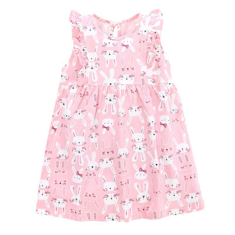 Rabbits Pattern Girls Pink Dress