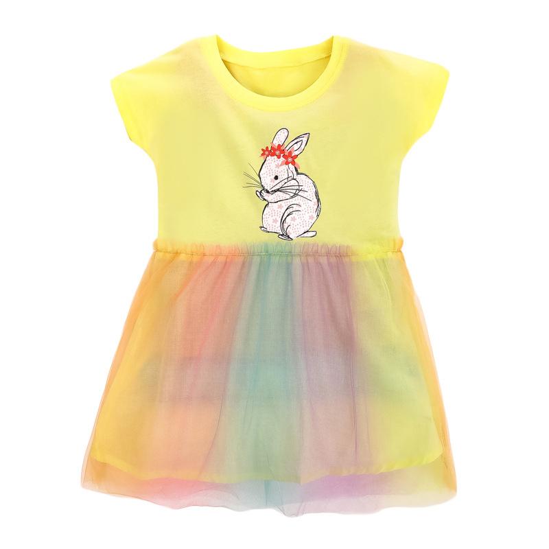 Girl short sleeved print bunny pattern dress