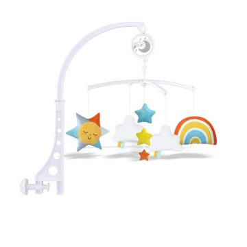 Rainbow bedside toys is hanging on the bed of infant which can make soft music and the color of toys can be infant comfort and easy to get to sleep.
