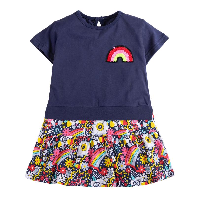 Rainbow Print Dark Blue Girls Slicing Dress