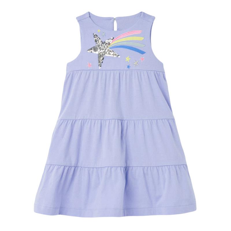 Girls Light Purple Dress with Rainbow and Star Pattern