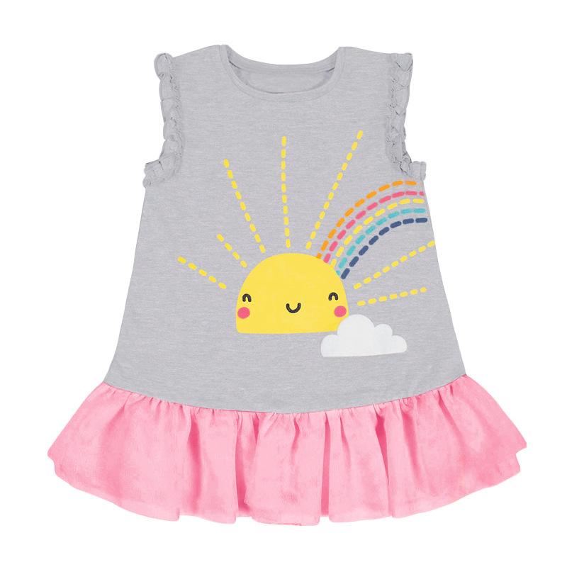 Sun Cloud Rainbow Pattern Grey Girls Dress