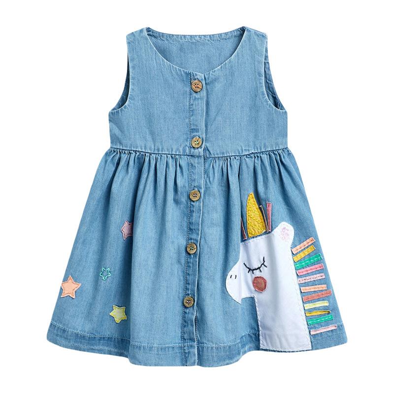 Girls Denim Dress Summer new Girl Dress