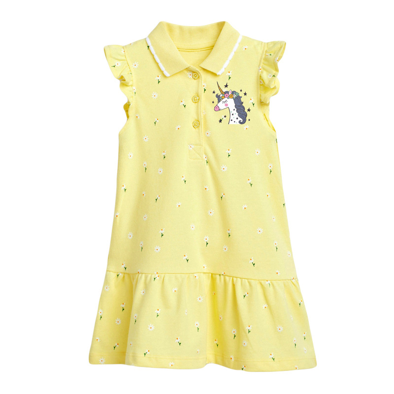 Girls Yellow Polo Dress With Little Pony Pattern