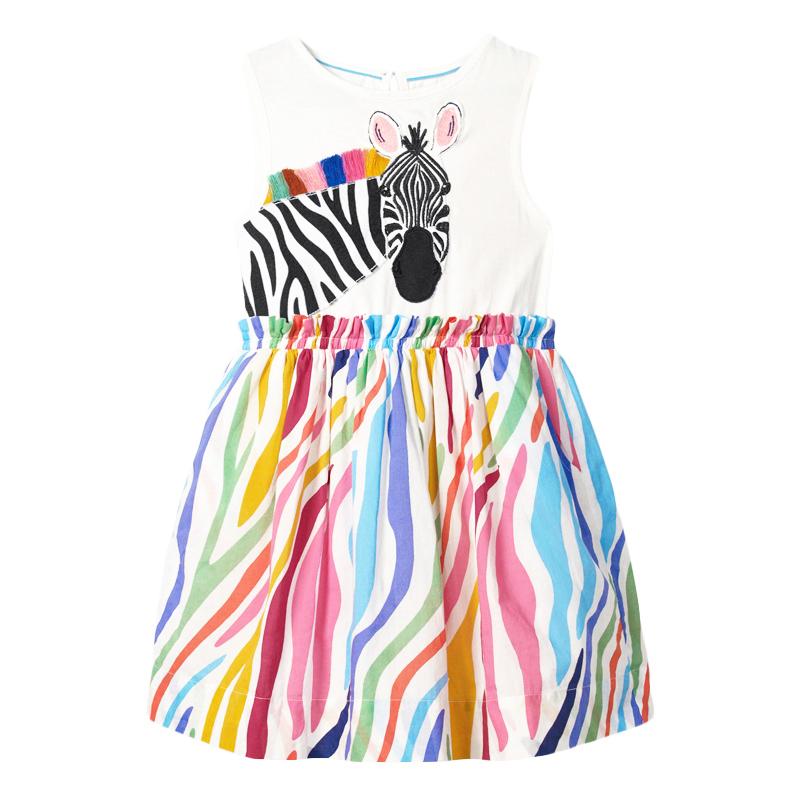 Zebra Pattern Splicing Girls Dress