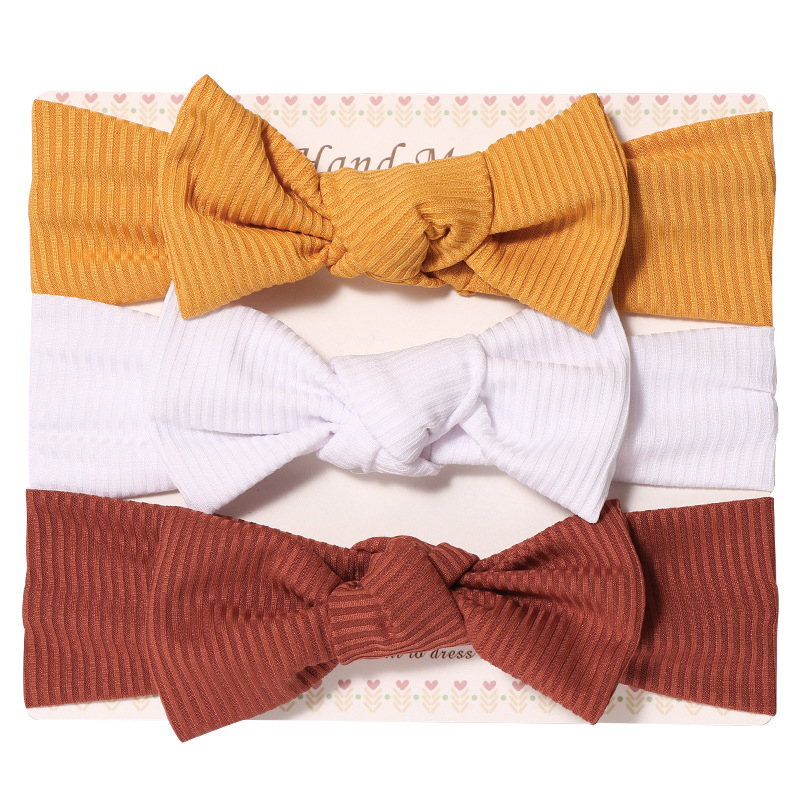 3pcs Girl Bow Knot Headband in Solid Color Set