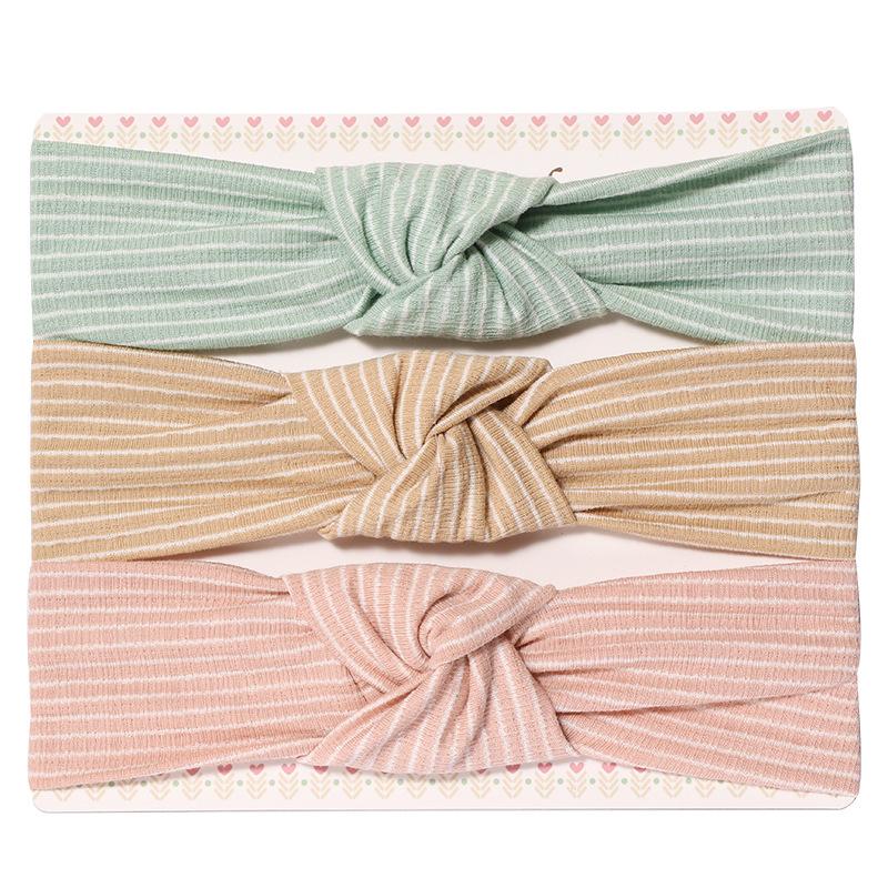 3pcs Girl Bow Knot Striped Headband Set