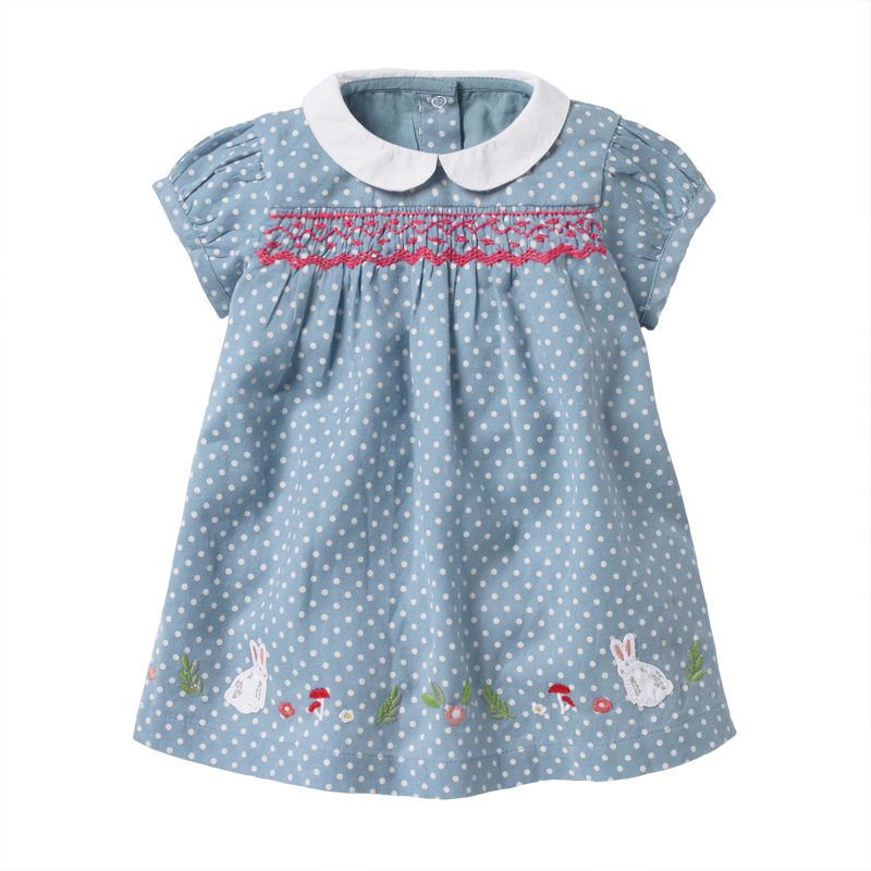 Polka Dot Printed Short Sleeve Cotton Girls Dress