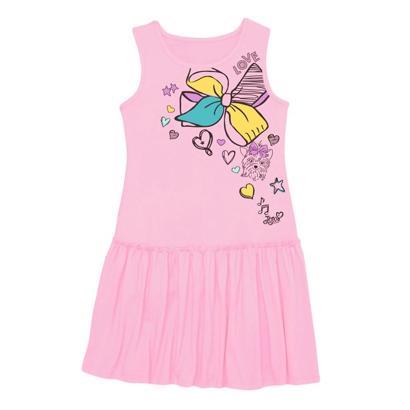 Bowknot Pattern Pink Girl Dress