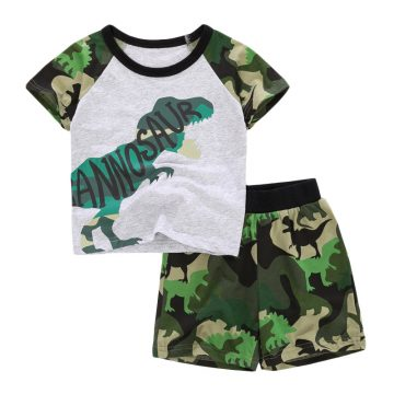 tyrannosaurus cartoon  prints Baby and Toddler T-Shirt  and Mesh Shorts Set for baby boy wearing in summer day, include short sleeve T-shirt and shorts made of camouflage Fabric