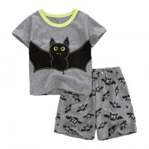 grey color bat cartoon prints Baby and Toddler T-Shirt and Mesh Shorts Set for baby boy wearing in summer day, include short sleeve T-shirt and shorts
