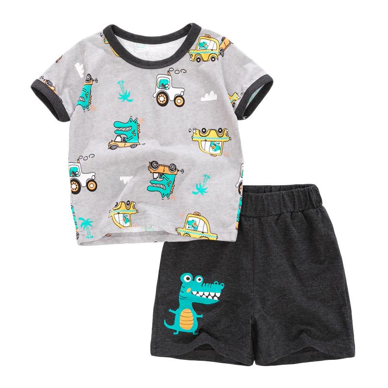 Dinosaur Driving Cars  Print Baby Boys T-shirt+ Shorts  Set in Grey Color