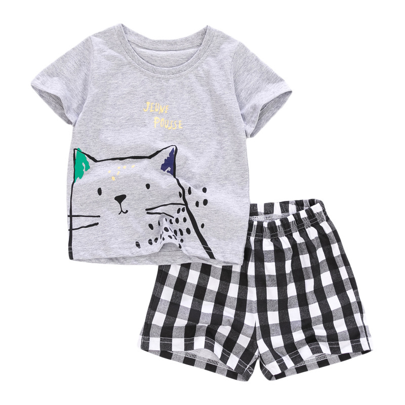 Cute Cat Print Baby Boys T-shirt+ Shorts  Set
